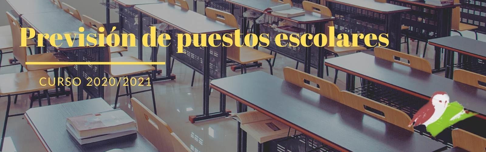 Previsión de puestos escolares curso 2020/2021