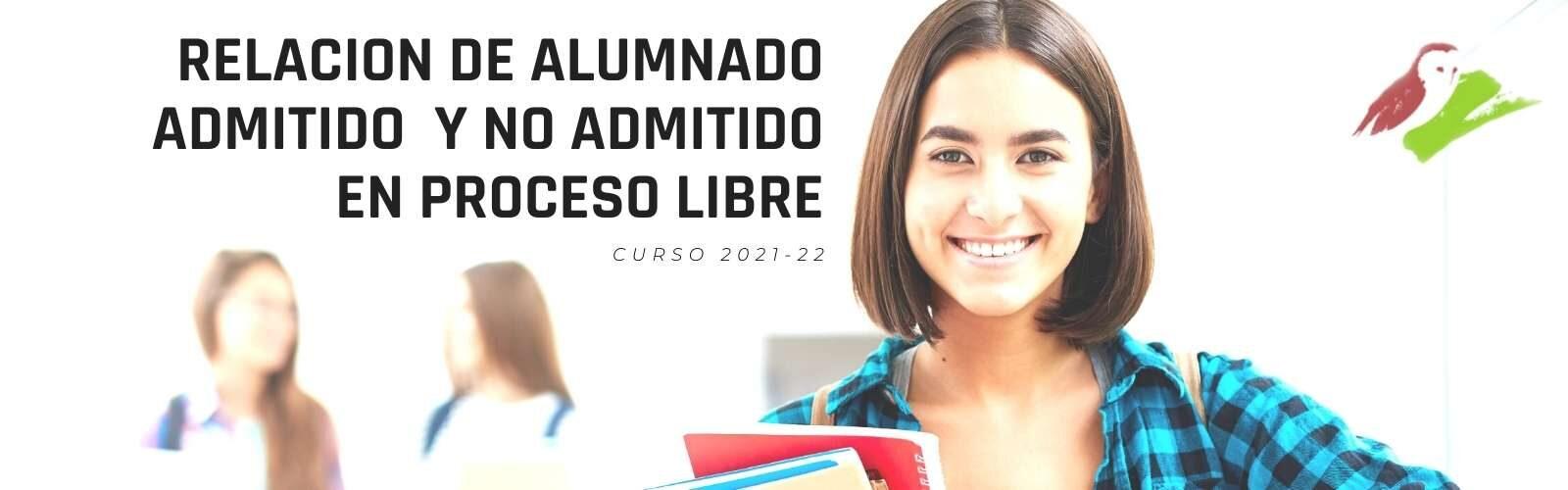 Relación definitiva de alumnado admitido y no admitido en proceso libre